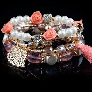 4 pcs Peach Boho Elastic Bracelet